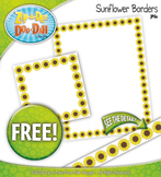 FREE Spring Sunflower Blossoms Clipart Borders
