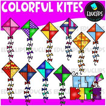 Colorful Kites Clip Art Bundle