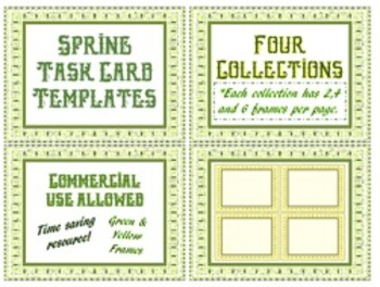 SALE Spring Task Card Templates: Collection of 2, 4 & 6 Fr