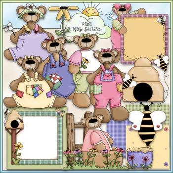Spring Teddies Clip Art 1 - Spring Clip Art - Bear Clip Ar
