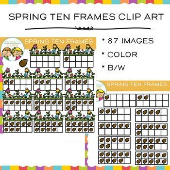 Spring Ten Frames Clip Art