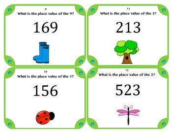 Spring Theme Place Value Task Cards (Set of 28)