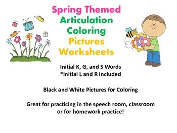 Spring Themed Articulation Coloring Worksheets for Speech
