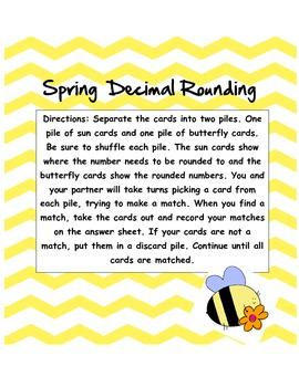 Spring Themed Decimal Rounding Center