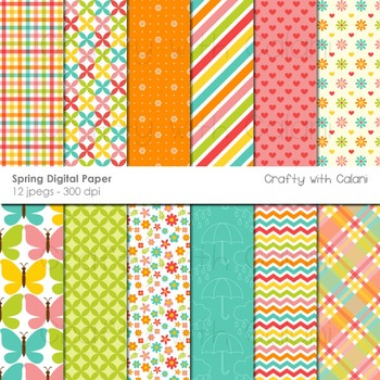 Spring Themed Digital Paper and Background Set - 12 high r