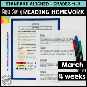 Paper-Saving Reading Homework for 4th & 5th - 4 weeks Spri