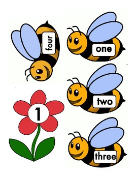 Spring Themed Numeral and Number Word Match