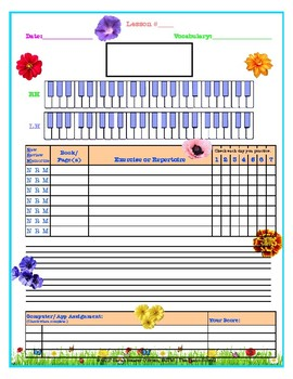 Spring Themed Piano Lesson Assignment Sheet