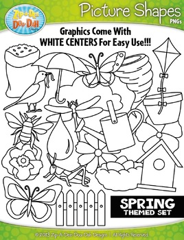 Spring Themed Picture Shapes Clipart Set — Includes 20 Graphics!