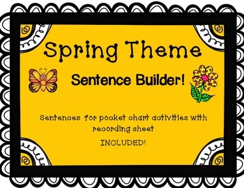 Spring Themed Sentence builder for pocket chart with recor