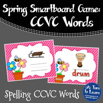 Spring Themed Spelling CCVC Words for Smartboard or Promet