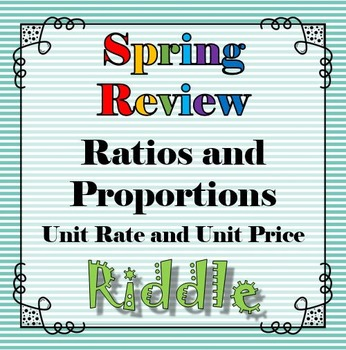 Spring Unit Rate and Price Riddle Review Activity...Math +