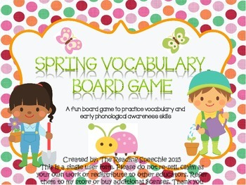 Spring Vocabulary  Board Game