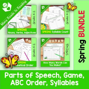 Spring Parts of Speech, Syllables, ABC Order, Making Words BUNDLE