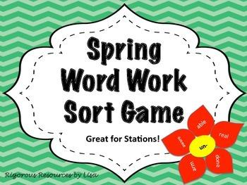 Spring Word Work Sort Game