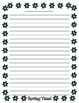 Spring Writing Lined Paper