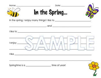 Spring Writing Prompt (modified versions)
