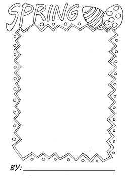 Spring Writing or Drawing Border Sheet with Easter Eggs