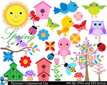 Spring and Summer Digital Clip Art Graphics 151 images cod56