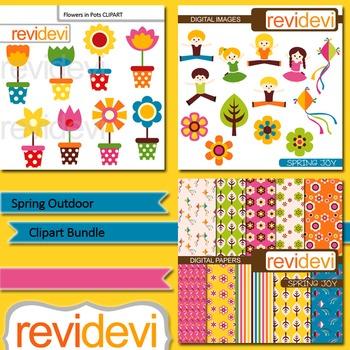 Spring clip art bundle (3 packs) flowers in pots, kids jum