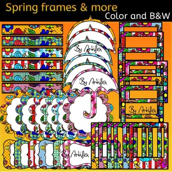Spring frames and more clip art- Color and B&W