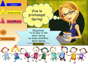 Spring in French powerpoints bundle beginners NO PREP