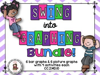 Swing into graphs task cards bundle {picture & bar graphs}