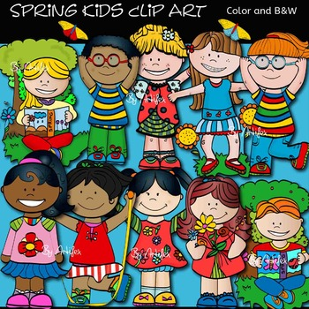 Spring kids clip art- Color and B&W