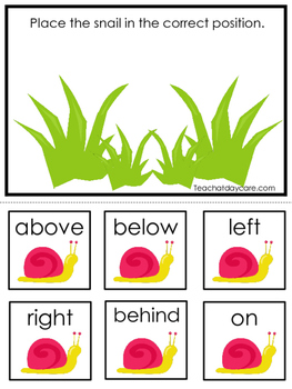 Spring themed Positional Game.  Printable Preschool Curric