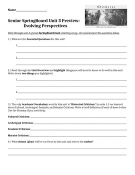 SpringBoard 12 Unit 3 Preview Worksheet