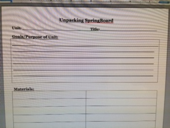SpringBoard- Unpacking a Unit- Template & Step by Step Directions