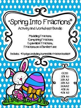 Spring/Easter Fraction Test Prep Activity and Worksheet Bundle