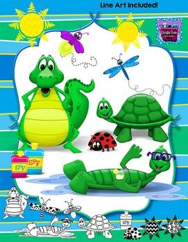 Summer Animals Clipart - Alligator, Turtle, Dragonfly, Lad
