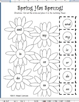Springing Up Sight Words