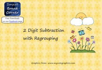 Spring Time Theme 2 digit subtraction with regrouping Smar