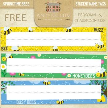 Springtime Bees Name Tags / Desk Tags