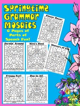 Springtime Grammar Mosaics-Parts of Speech Fun! Nouns,Verb