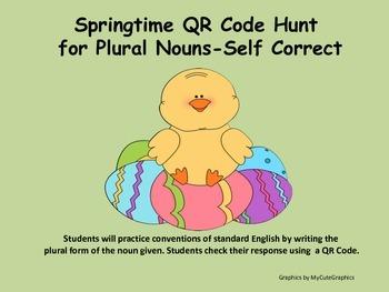 Plural Nouns (regular and irregular) Springtime QR Code Hu