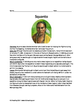 Squanto - Full Life Story - Activities Questions Vocab Wor