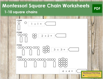 Square Chain Worksheets - Montessori