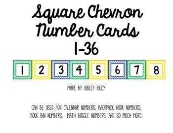 Square Chevron Numbers 1-36