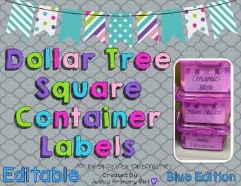 Square Dollar Tree Container Labels for 54oz Lock Top - Bl