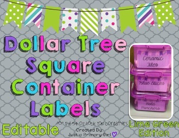 Square Dollar Tree Container Labels for 54oz Lock Top - Li