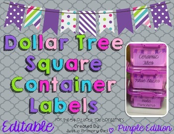 Square Dollar Tree Container Labels for 54oz Lock Top - Pu