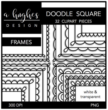 Square Doodle Scallop Frames {Graphics for Commercial Use}