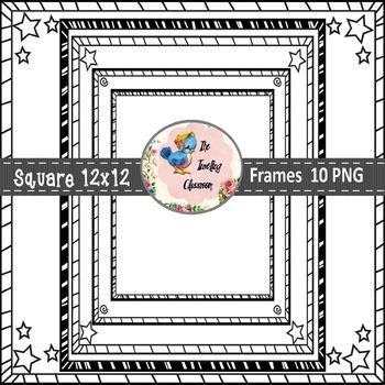 Square Task Card Frames (Digital Borders for Commercial Use)
