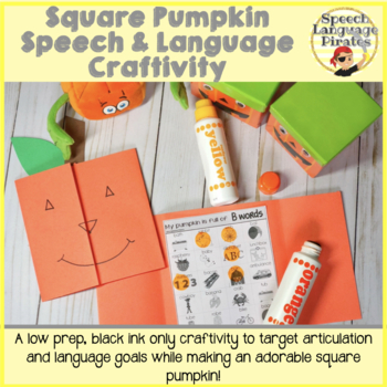 Square Pumpkin Speech and Language Craftivity