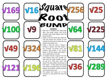 Square Root Bump - A 2-Player Game to Practice Finding Squ