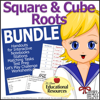 Square Roots and Cube Roots Activity BUNDLE - Math Centers
