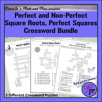 Perfect Square Roots and Perfect Squares Crosswords BUNDLE